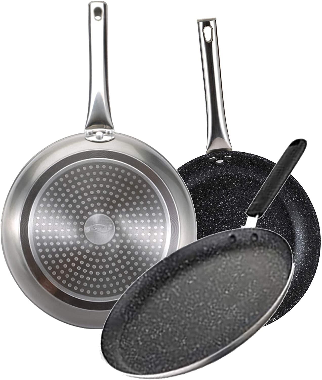 Bergner Set Neon Silver: sartenes Ø20 y Ø24 y para crepes Ø24 cm, aluminio forjado, antiadherente mármol, inducción, con mangos tubulares en acero inoxidable