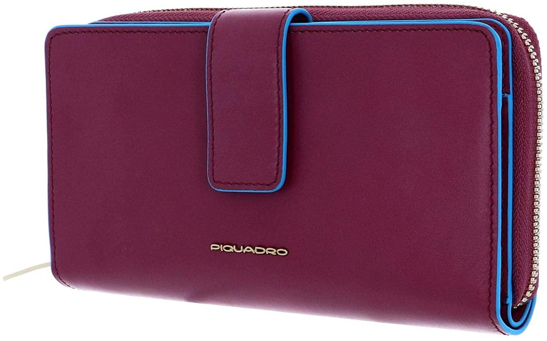 Piquadro Blue Square Large Purse RFID Viola Pervinca