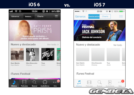 iOs 6 vs iOs 7 - itunes