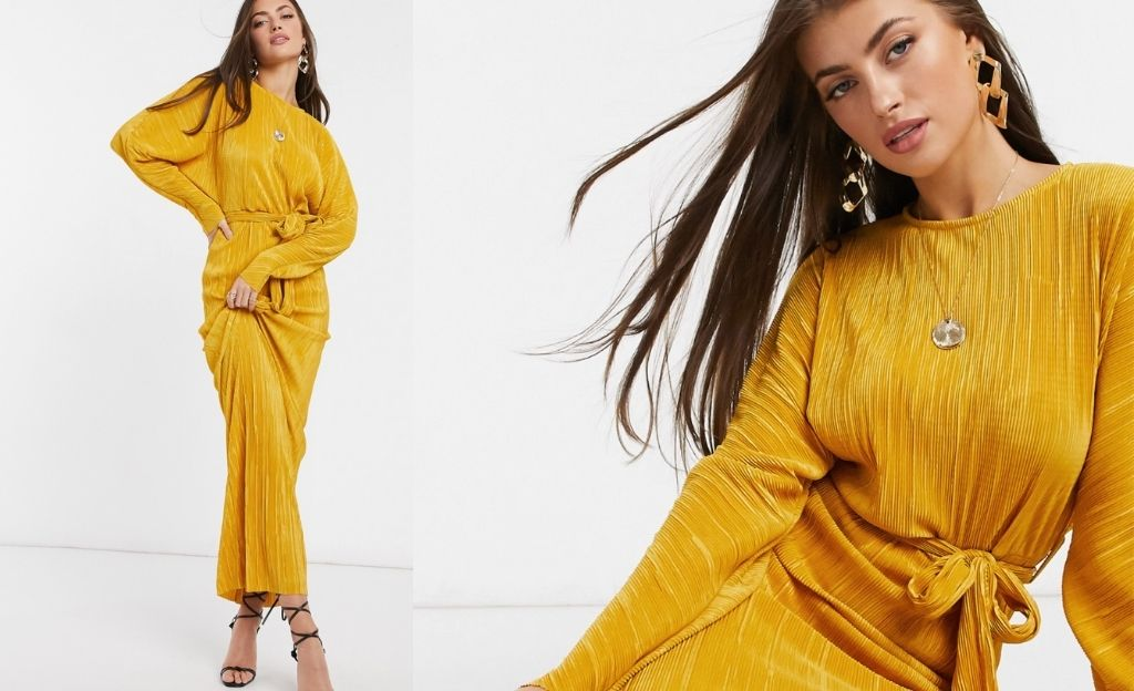 Vestido largo dorado con pliegues cinturón anudado y manga murciélago de ASOS DESIGN