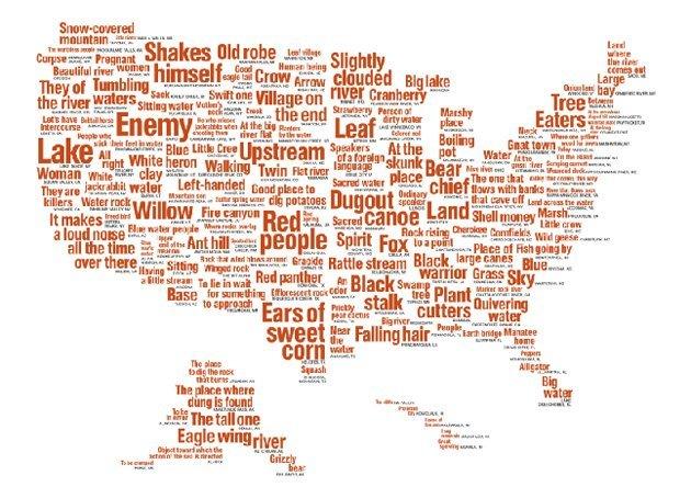 mapa de nombres nativos americanos