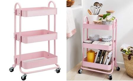 CopiaCarrito de cocina o multiuso de tres niveles con ruedas en rosa apagado
