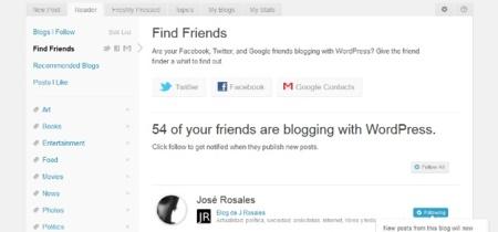 Encuentra en WordPress.com los blogs de tus contactos en Twitter, Facebook y Google