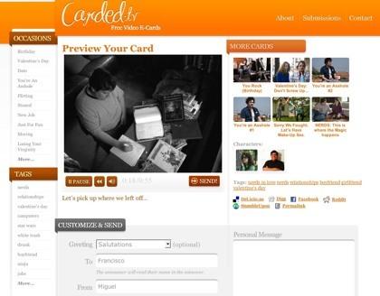 Carded.tv, otro servicio para el envío de tarjetas electrónicas de vídeo por internet
