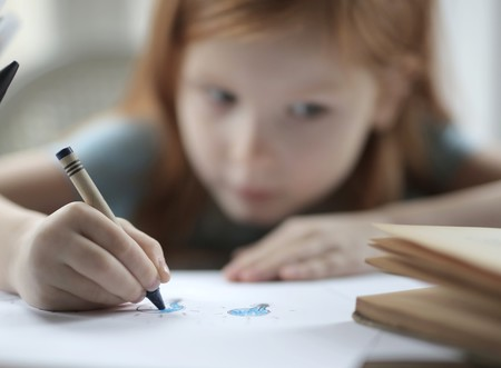 Girl Holding Crayon Coloring White Paper 3891207