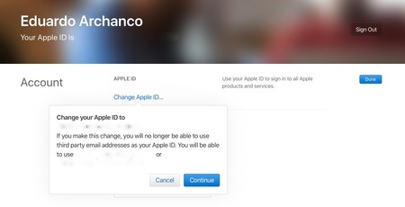 Cambio ©Apple Id