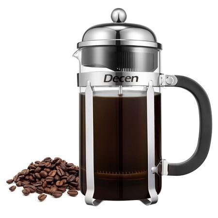 Cupón de descuento del 60% en la cafetera de estilo francés para café molido Decen: aplicándolo se queda en 9,99 euros en Amazon