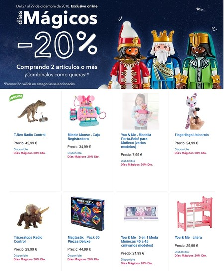 Toys 'r us nos ofrece un 20% de descuento por la compra de dos o más juguetes hasta el 29 de diciembre