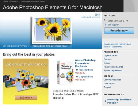 Photoshop Elements 6, disponible para Mac