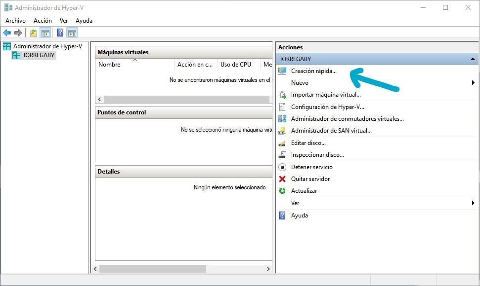 Creación rápida de en Hyper-V de Windows para virtualizar Ubuntu