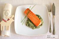 Taco de salmón y crema de espinacas. Receta de Navidad para embarazadas