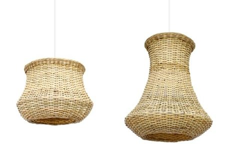 Para la casa de verano, lámparas de ratán