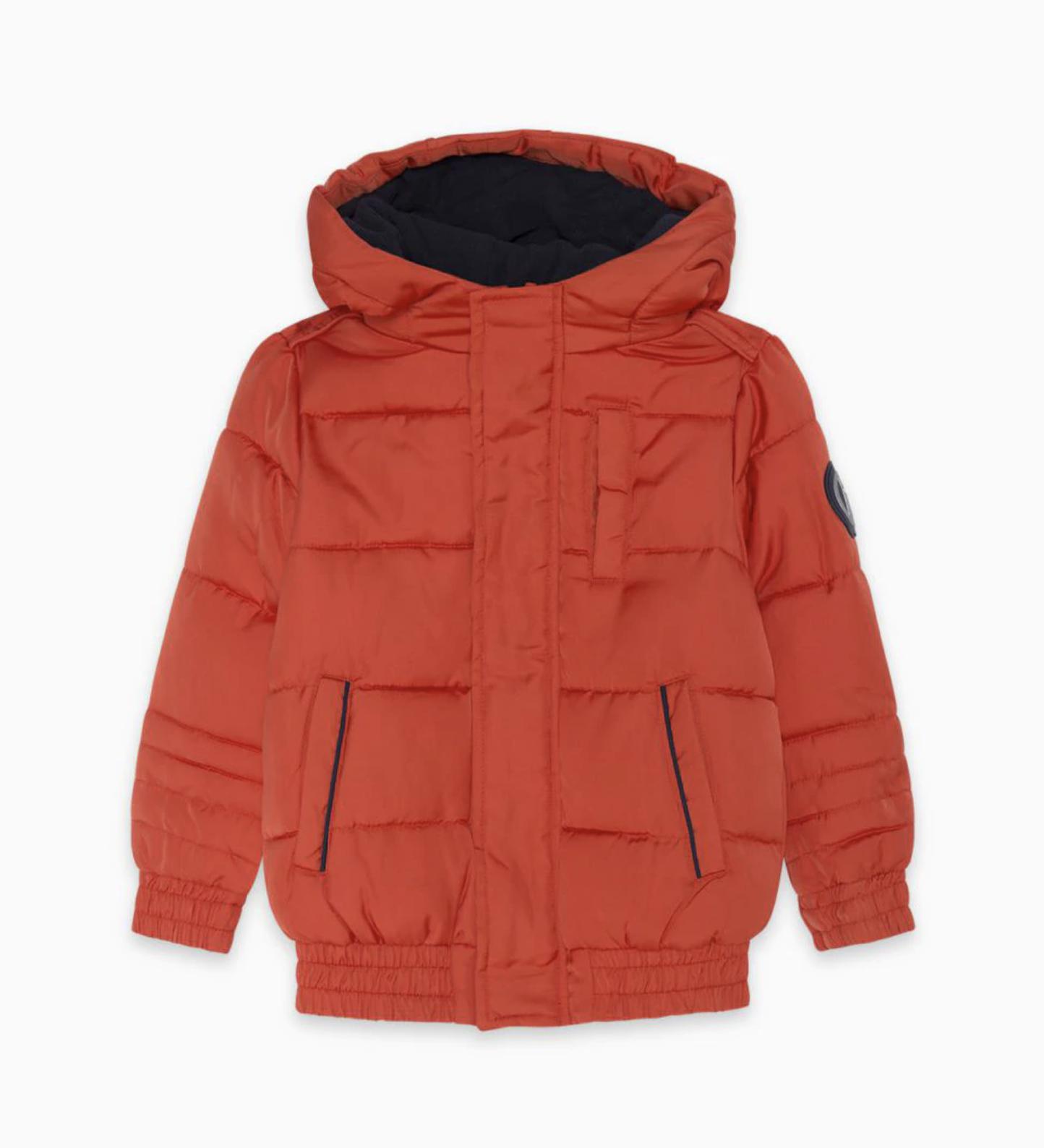 Plumífero de niño con capucha en color naranja