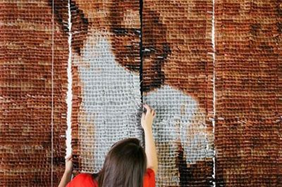 Increíble retrato hecho con 20.000 bolsitas de té