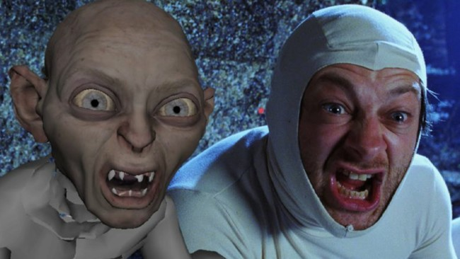 Andy Serkis dando vida a Gollum