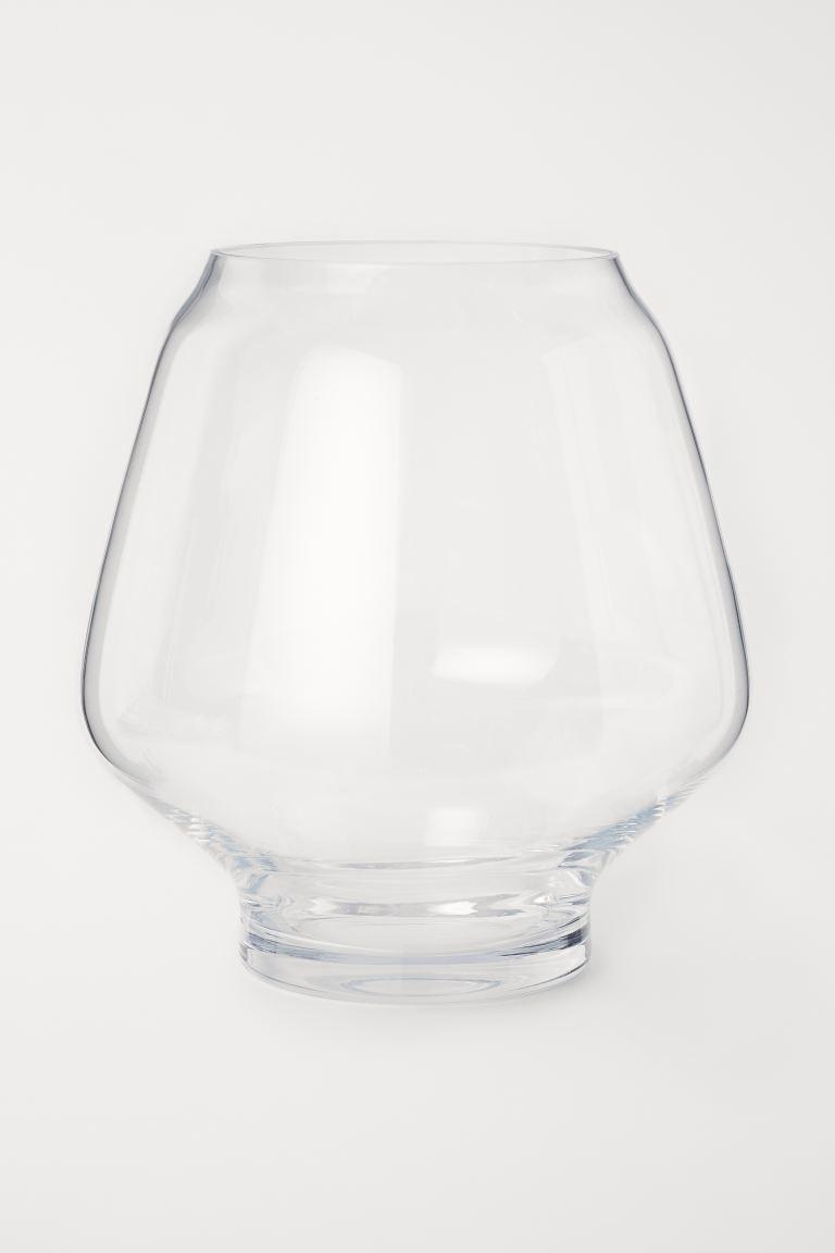 Classic Collection Jarrón grande y redondo de vidrio. Diámetro superior 18 cm, alto 32 cm.