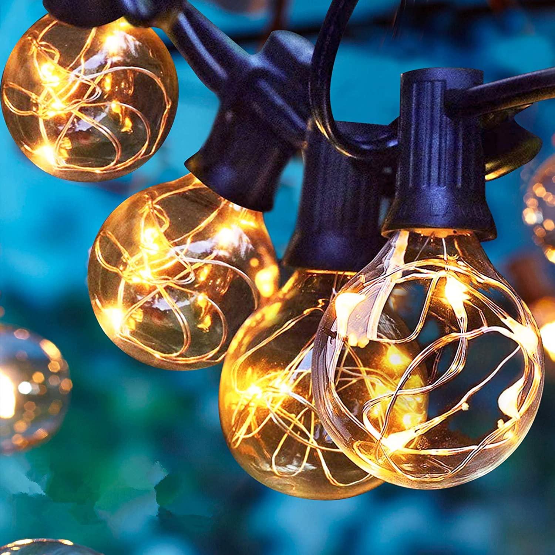Albrillo Guirnaldas Luminosas de Exterior, 11M Cadena de Luces LED con G40 30 + 3 Bombillas de Repuesto, Blanco Cálido, Iluminación Interior Exterior para Jardín, Terraza, Cafe, Impermeable