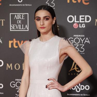 Premios Goya 2019: Sandra Escacena pisa la 'red carpet' con un Dolores Promesas delicadamente futurista