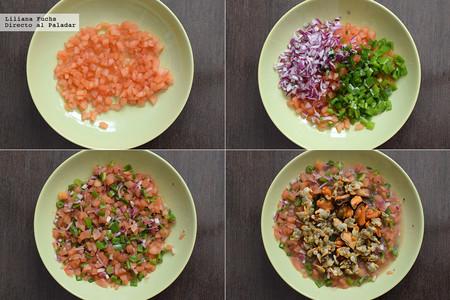 Sopa de mejillones, berberechos y hortalizas. Pasos