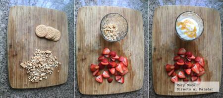 Postre de yogurt, miel y fresas. Receta fácil para niños