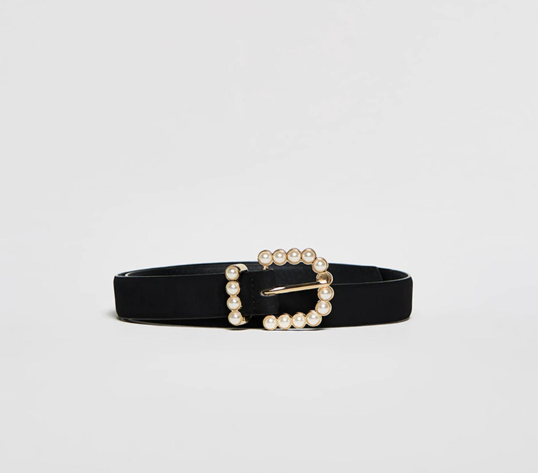Cinturón hebilla perlas