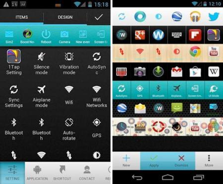 Atajos rápidos en el área de notificaciones con 1Tap Quick Bar para Android