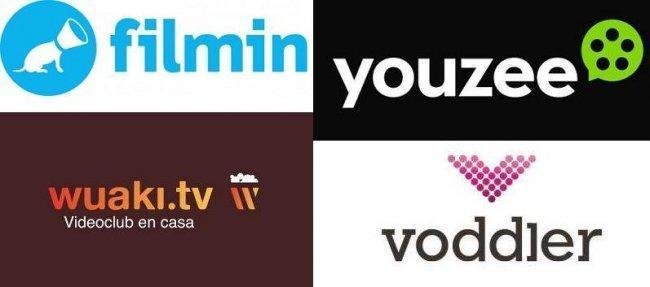 Logos de Filmin, Wuaki, Youzee y Voddler