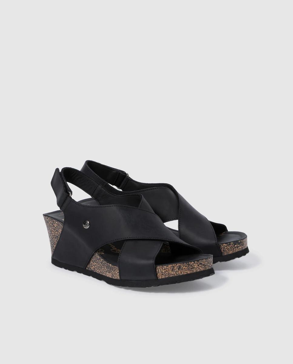 Sandalias de cuña de mujer Panama Jack de piel napa en negro