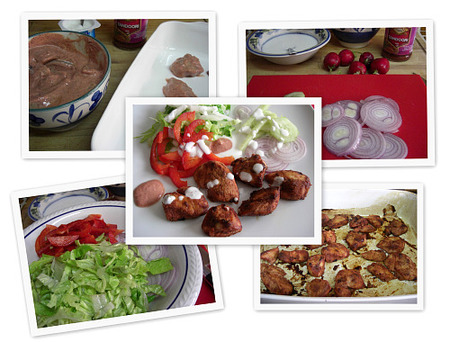 Ensalada de pollo al tandoori massala. Collage