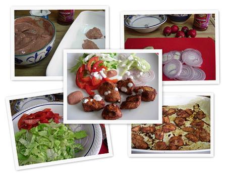 Ensalada de pollo al tandoori massala. Collage