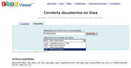 Zoho Viewer, ahora con nuevo visor de PDF y conversor de formatos online