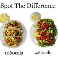 Mismo plato, diferentes calorías. Cómo preparar una comida más saludable