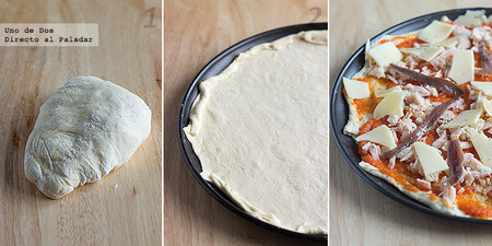 Pizza de bonito y anchoas. Receta paso a paso