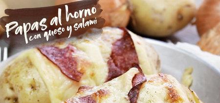 Papas al horno con queso y salami. Receta en video