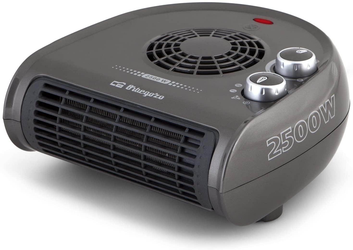 Orbegozo FH 5031 - Calefactor, termostato regulable, 2 niveles de potencia, función ventilador aire frío, calor instantáneo, indicador luminoso, asa de transporte, 2500 W, gris [Clase de eficiencia energética A+]
