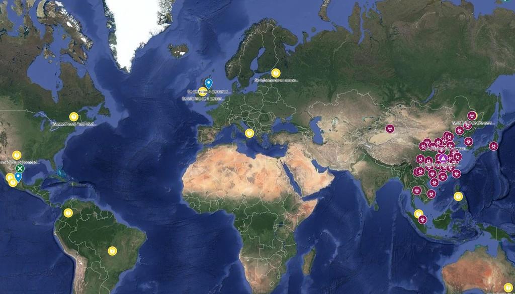Este atlas interactivo de Google® Maps exhibe los casos de bacilo Wuhan que hay en el mundo