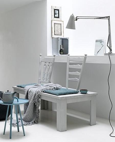 Recicladecoración: conjunto de mesa de café y sillas convertido en un original banco