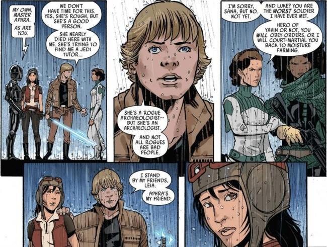 Aphra con Luke y Leia