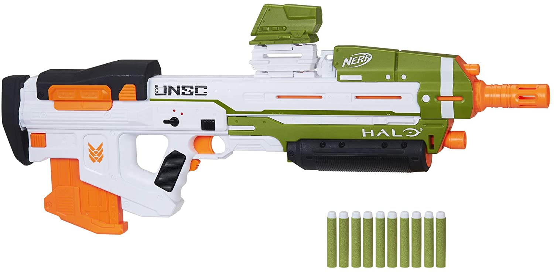 Nerf - Lanzador motorizado Halo MA40, incluye 10 dardos oficiales y clip extraíble de 10 dardos