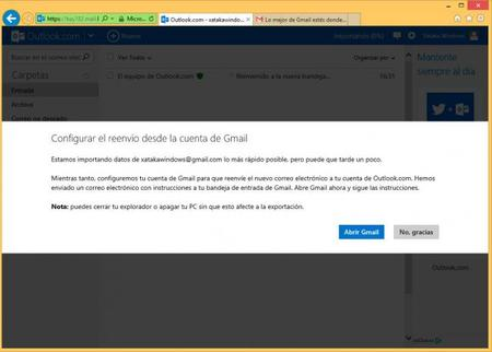 Mensaje de configuración de reenvío desde la cuenta de Gmail