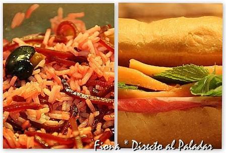 Comida para llevar: ensalada de arroz con remolacha, y baguette de jamón, papaya y menta