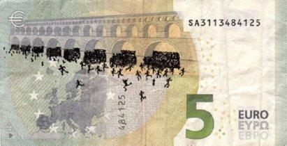¿Se puede pintar en billetes de Euro la catastrófica situación de Grecia? Este artista griego lo ha hecho