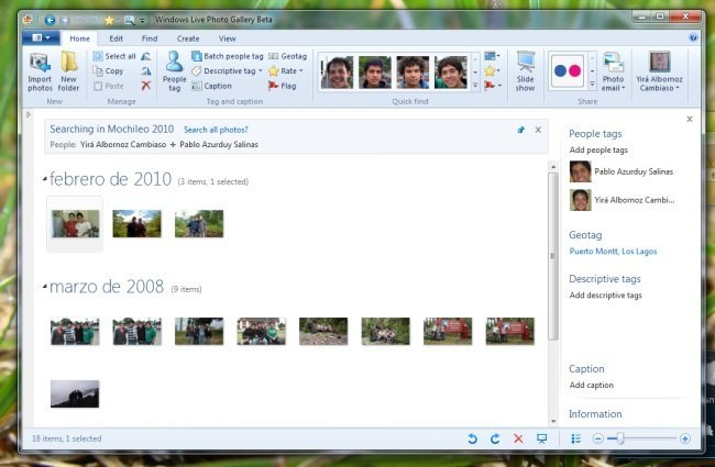 Ribbon en Windows Live Photo Gallery