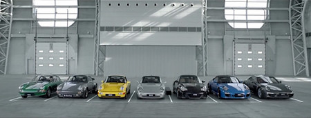 Sinfonía Porsche 911 con las siete generaciones