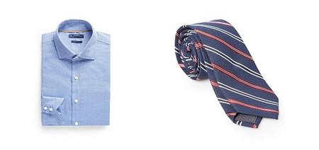 camisa azul y corbata rayas