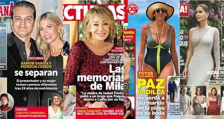 Ramonchu se divorcia, las memorias inéditas de Mila Ximénez y Paloma Cuevas habla de su acuerdo amistoso de divorcio: estas son las portadas del miércoles 14 de julio