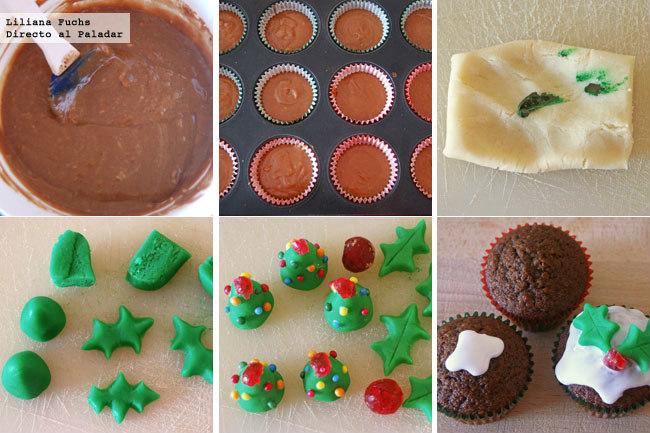 Cupcakes festivos de Navidad. Pasos