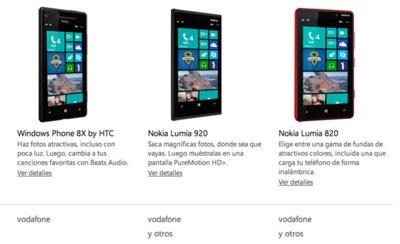 Nokia Lumia 920, Nokia Lumia 820 y HTC 8X llegarán a España de la mano de Vodafone
