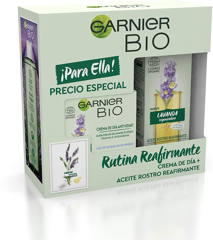 GARNIER Bio Pack Antiedad Crema Antiedad Con Aceite Esencial De Lavanda Y Vitamina E + Aceite De Rostro Reafirmante Con Lavanda, Suaviza, Reafirma Y Regenera La Piel