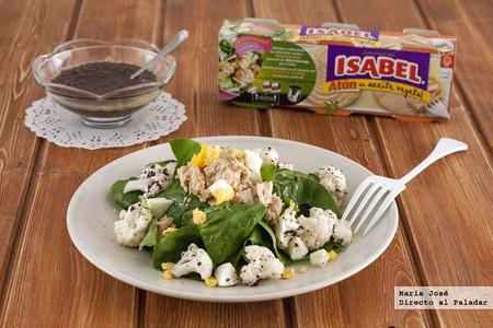 Ensalada de coliflor, espinacas y atún Isabel en aceite vegetal con vinagreta de aceitunas negras